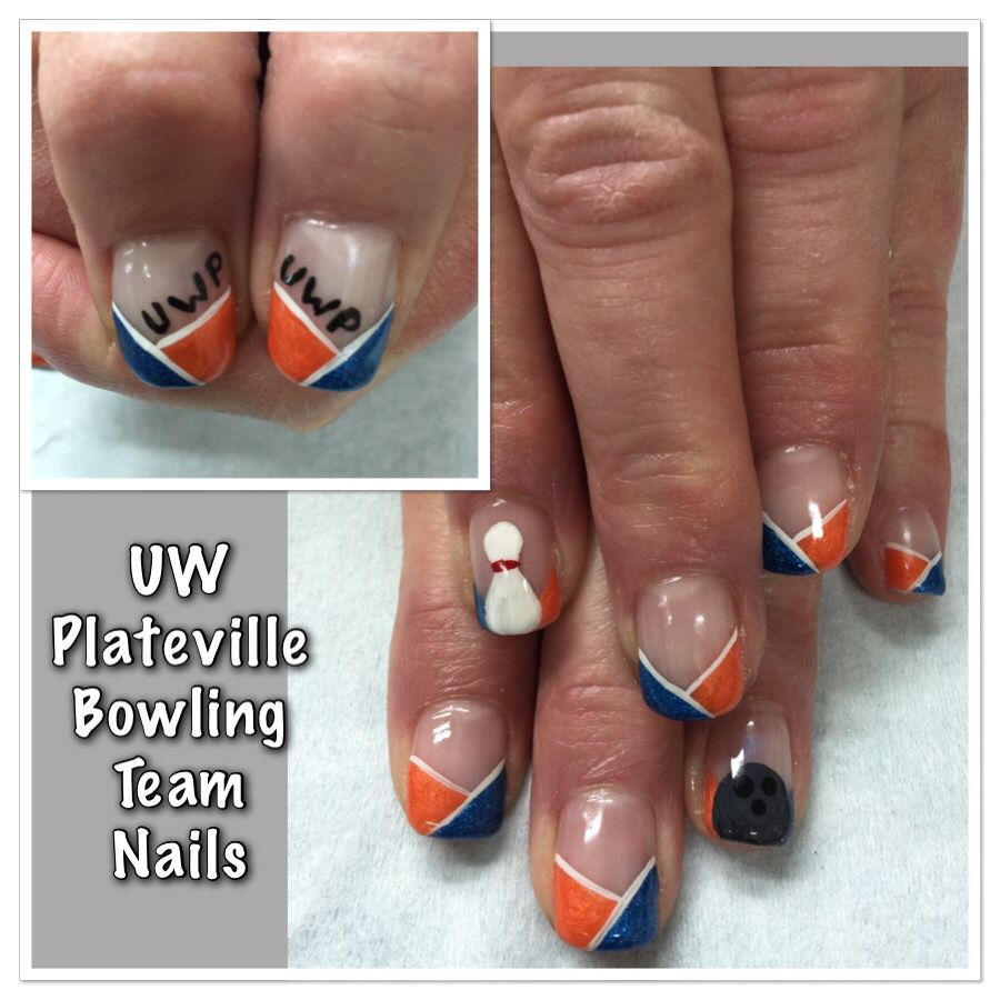 UW Plateville Bowling Team Mom gel nails. Hand painted bowling pin ...
