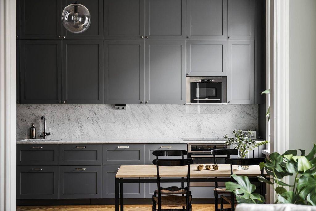 48 Stunning Dark Grey Kitchen Design Ideas In 2020 Dark Grey Kitchen Grey Kitchen Kitchen Renovation