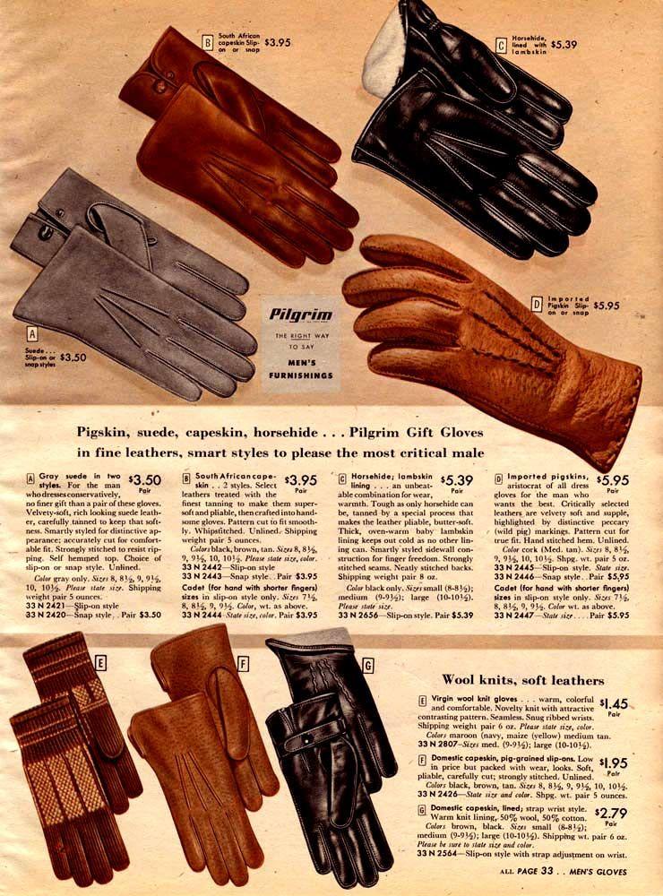 78165d7b00905 Vintage Mens Gloves Advertisement (1947) #vintageclothing #vintageads  #1940s #vintagecatalogs from RetroWaste.com