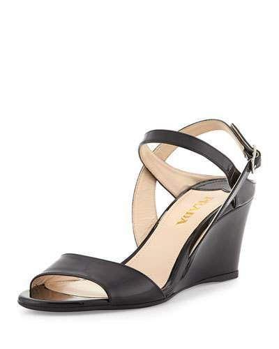 355686f4c Prada Patent Demi-Wedge Sandal