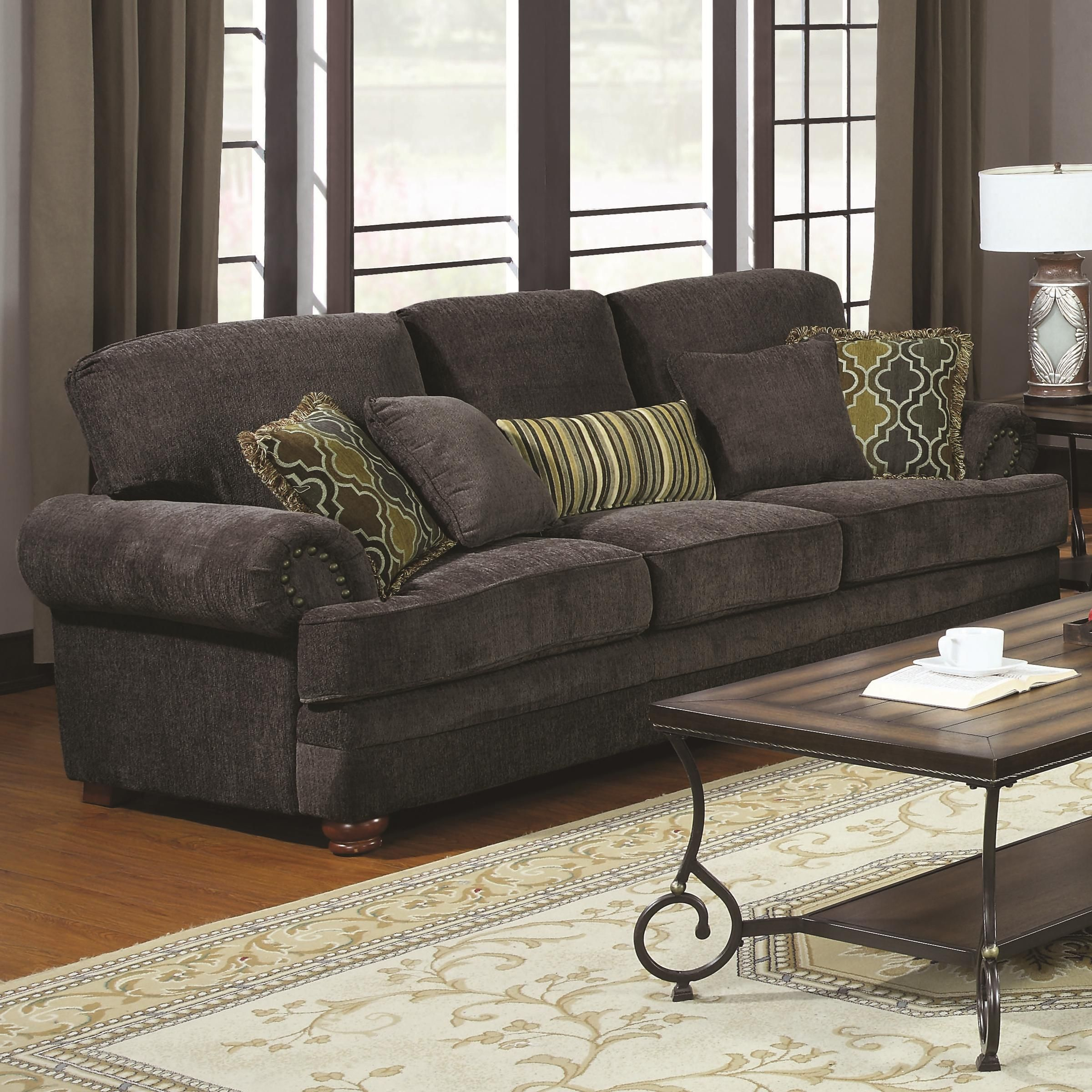 Colton Traditional Grey Sofa With Elegant Design Style By Coaster   Al Mart  Furniture