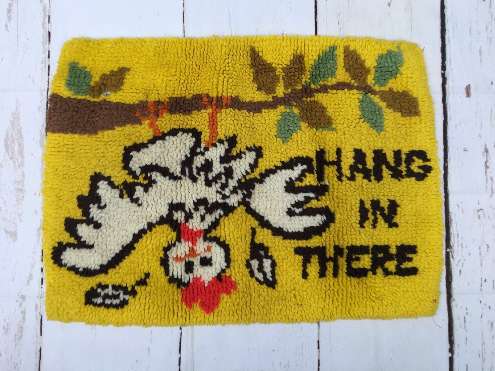 Vintage Hang In There Chicken Completed Latch Hook Yarn Rug Wall ...