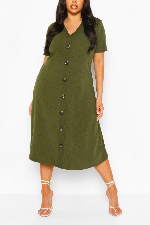 Plus Button Front Midi Dress Boohoo Green Midi Dress Basic Knit Dress Bodycon Fashion [ 1500 x 1000 Pixel ]