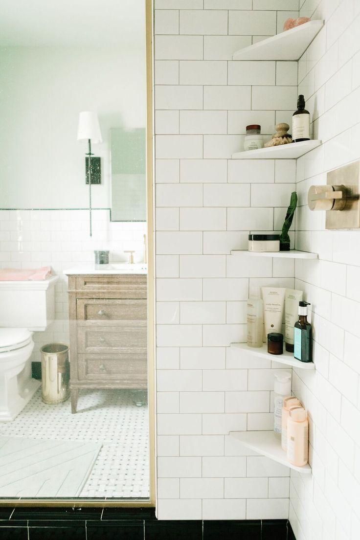 W&D Renovates: Upstairs Bathroom Makeover | Bathroom corner shelf ...