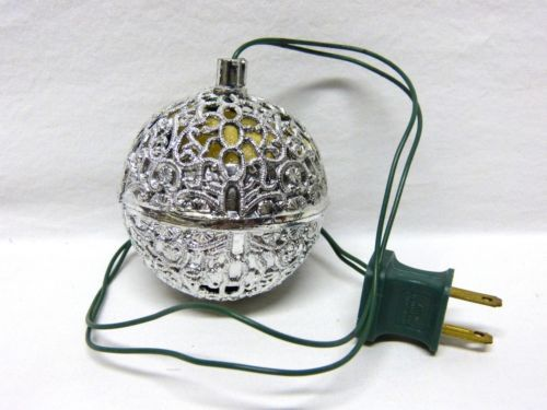 Vintage Electric Chirping Bird Silver Plastic Ball Christmas Tree Ornament Works at the grandparents' house and the parents' house!