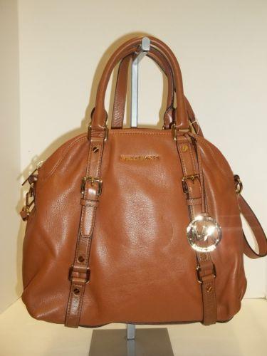 MICHAEL KORS Luggage Tan Pebbled Leather Bedford Bowling Satchel Handbag
