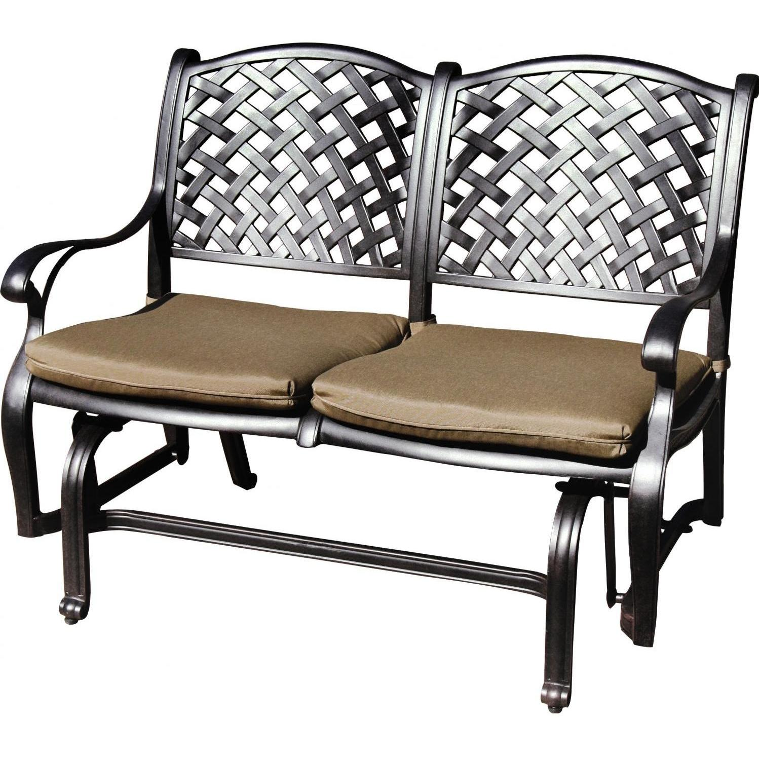 Darlee Nassau Cast Aluminum Patio Bench Glider Resin Patio