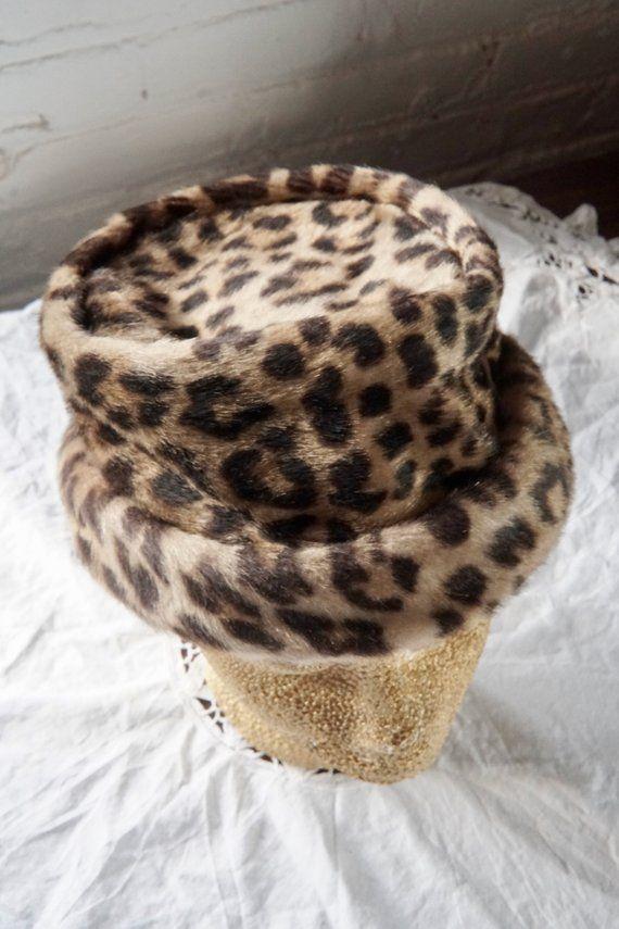 baa47d32c81 Vintage leopard print bucket hat   faux fur vegan winter hat ...