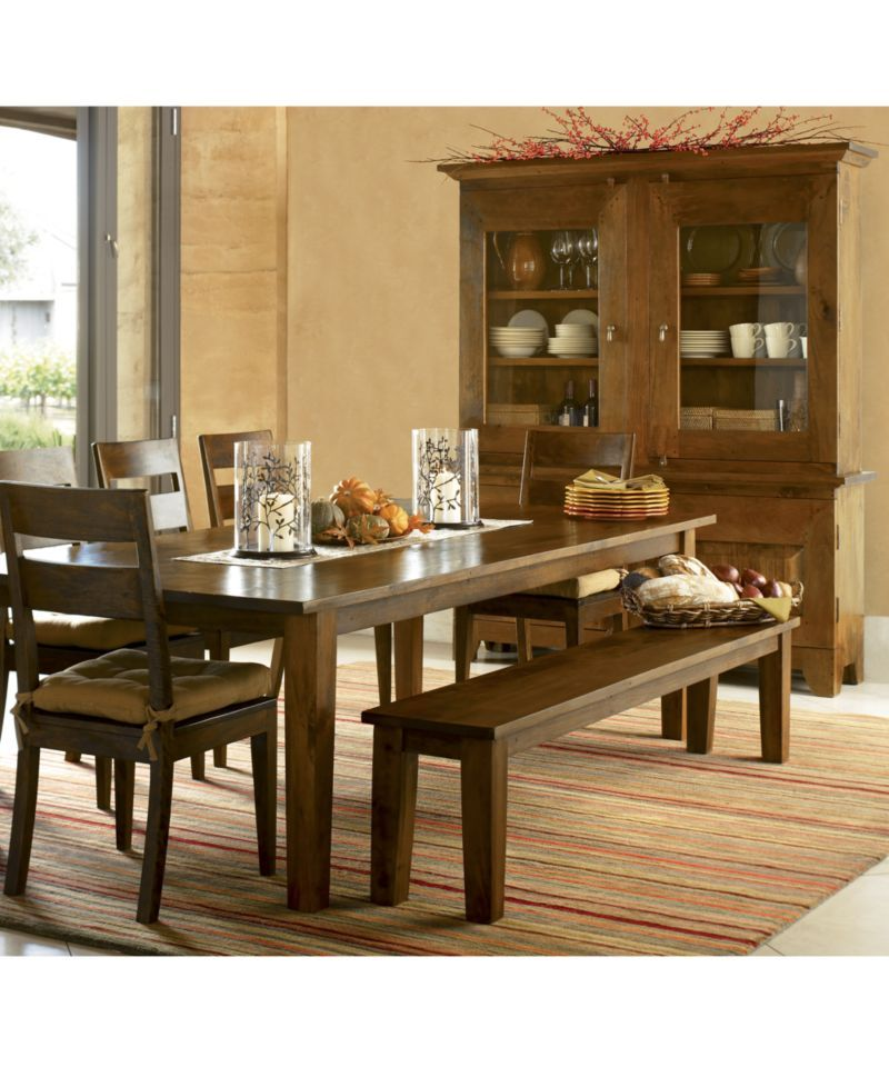 "Basque Honey 104"" Dining Table  Basque Crates And Barrels Alluring Dining Room Set With Hutch 2018"