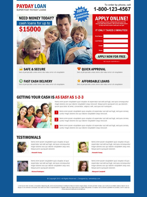 Download converting landing page design to convert your business - free loan template