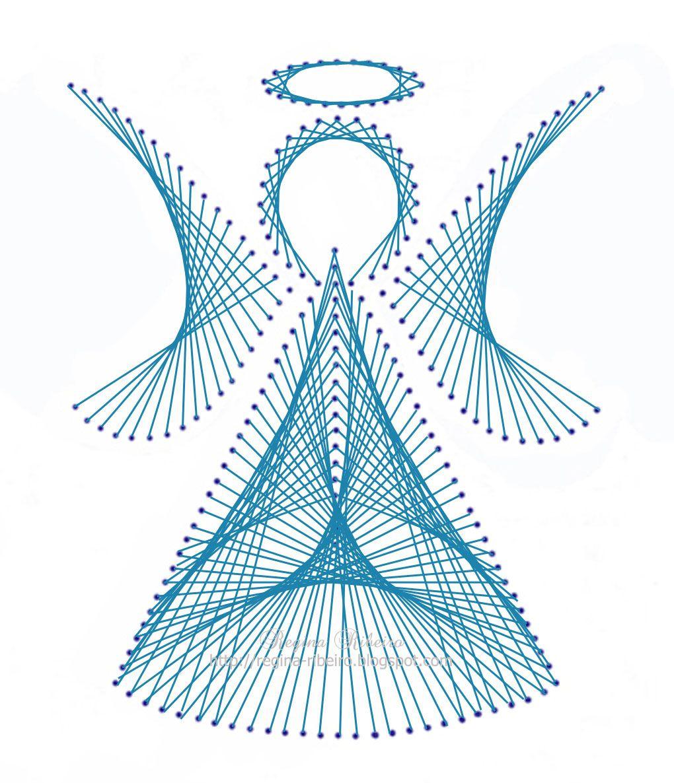Por regina ribeiro anjinho bordado papel instru risco for String craft patterns