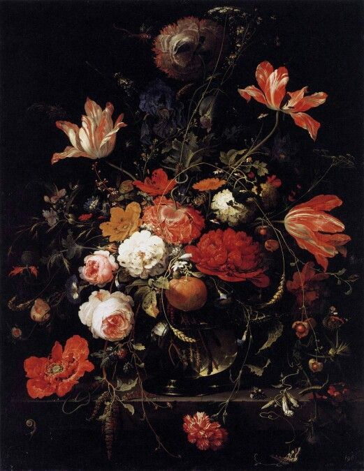 Theatrale sfeer. Abraham Mignion, 'A Glass of Flowers and an Orange Twig' Nederlands schilder van bloem- en vruchtenstillevens. 1640 Frankfurt am Main, Duitsland - 1679 Utrecht, Nederland.
