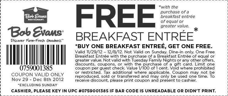 Second Breakfast Free Mon Sat At Bob Evans Restaurants Coupon Via The Coupons App Bob Evans Free Breakfast Printable Coupons