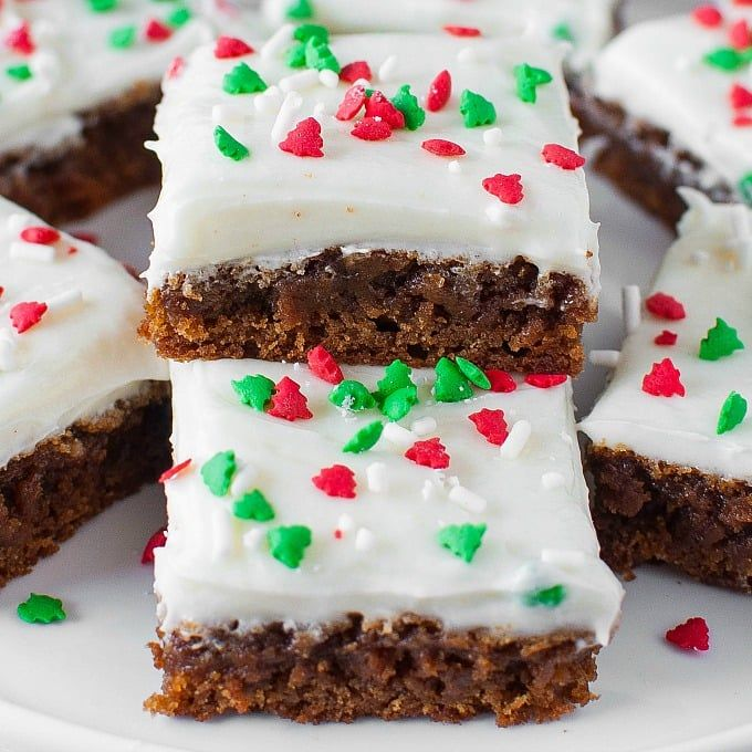 Soft and Chewy Gingerbread Bars with Eggnog Frosting are an easy