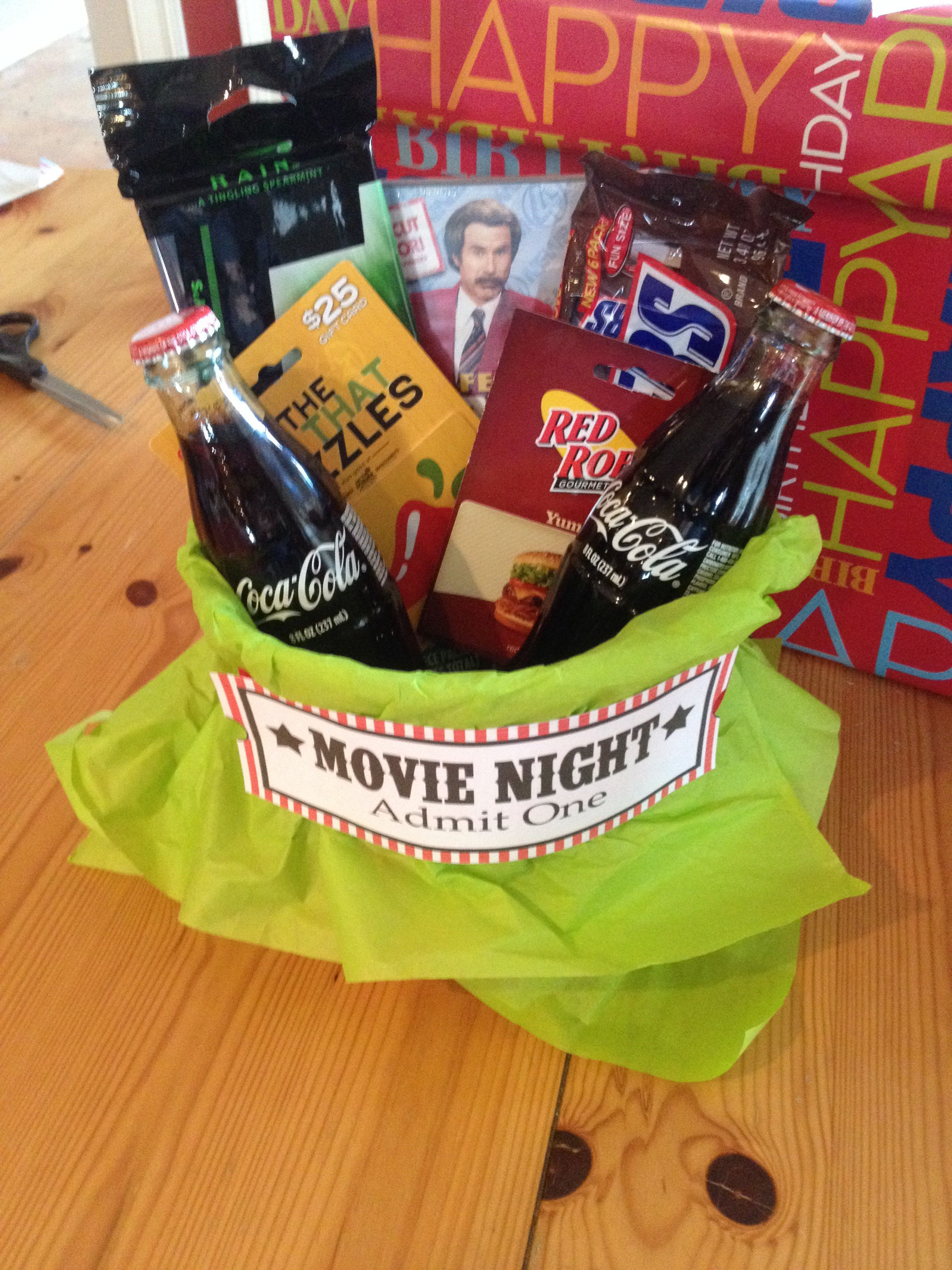 Birthday Gift Movie Restaurant And Theater Card Bucket Of Popcorn Bottled Coke Candy