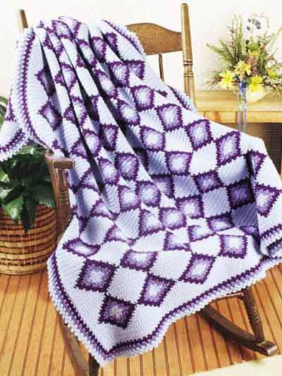 Shades of Blue, Green and Purple Crochet Afghan Patterns