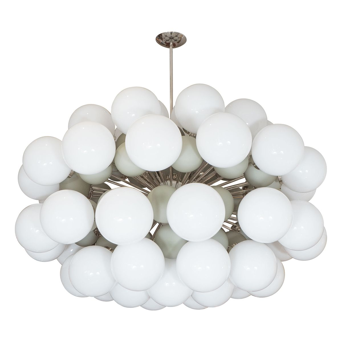 Nickel sputnik chandelier featuring small and large opaque glass nickel sputnik chandelier featuring small and large opaque glass globes arubaitofo Images