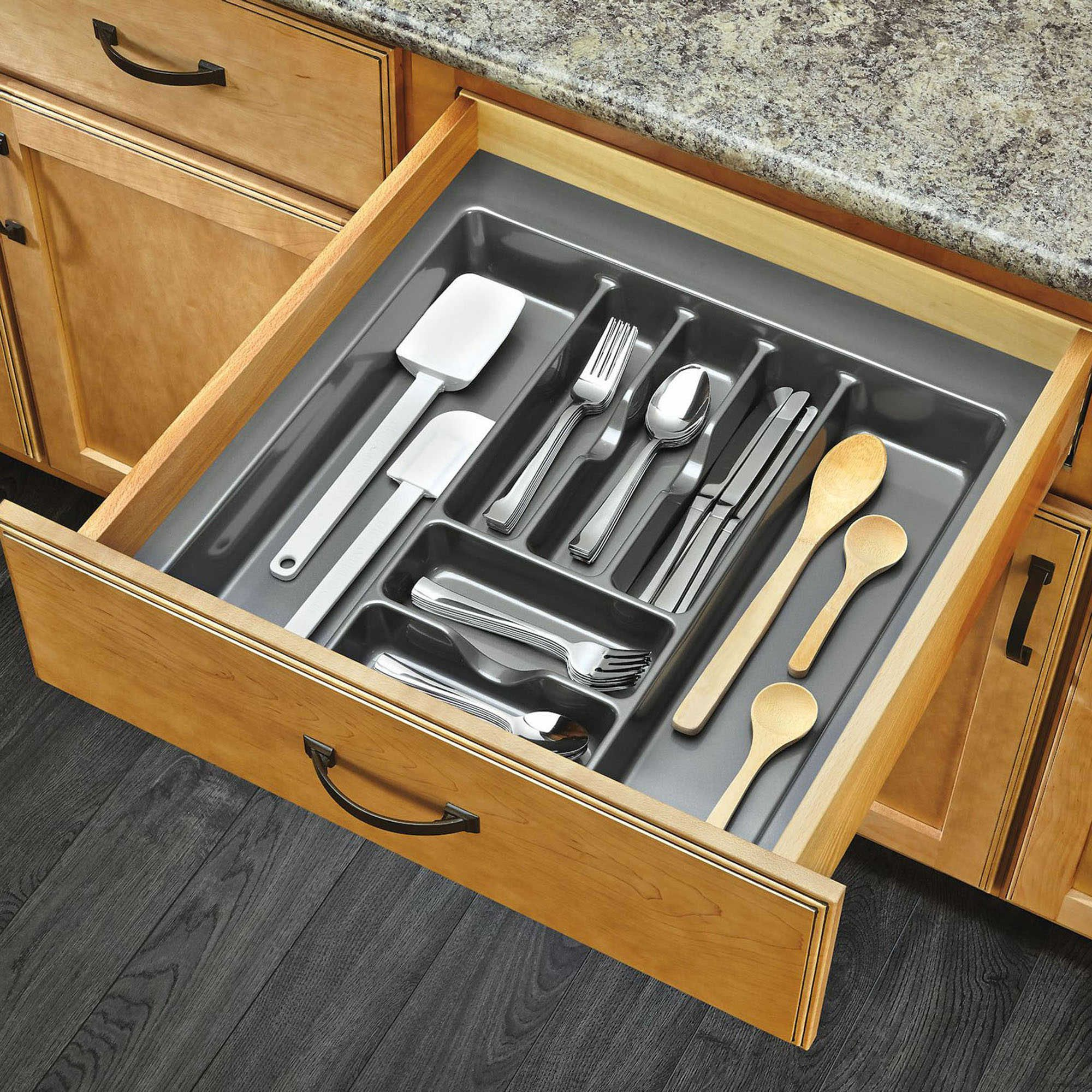 Rev A Shelf Gct 4s 52 Extra Large Glossy Silver Cutlery Tray