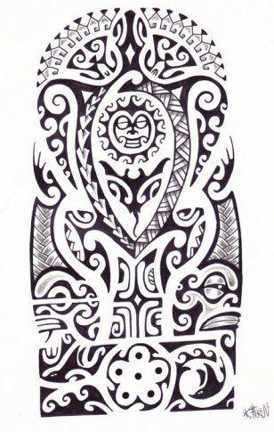 Plantilla Diseo de Tatuaje Maori Polinesio de Sol Totem Tortuga