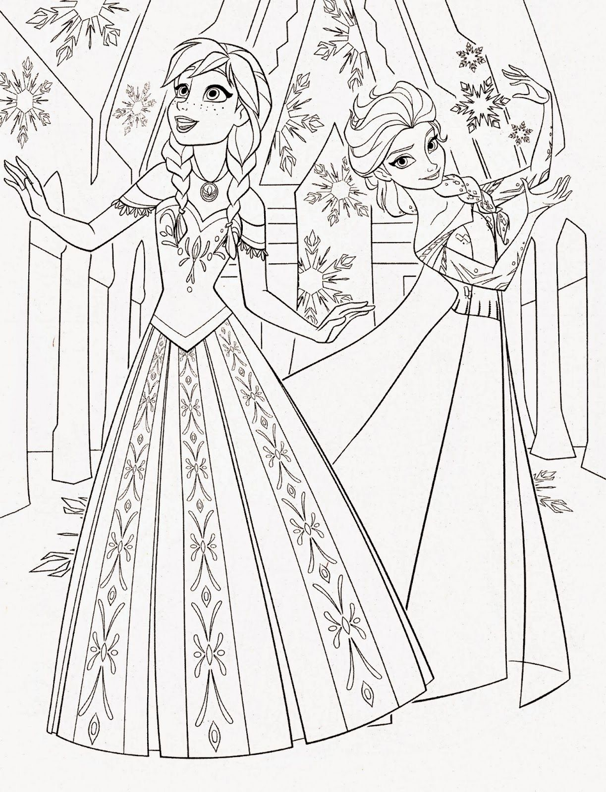 Disney Princess Frozen Elsa and Anna Coloring Pages | Recreational ...