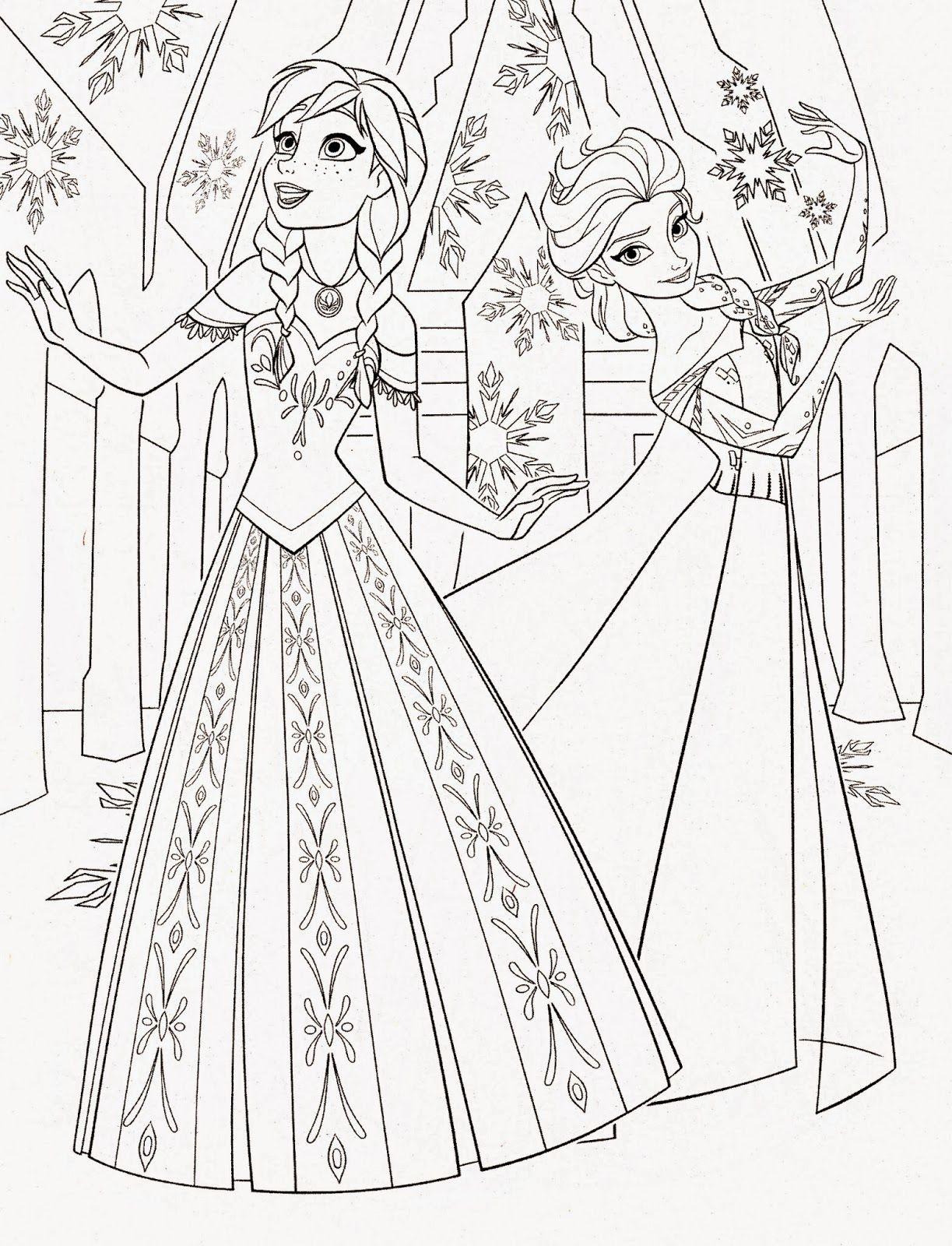 Pr Princess Coloring Pages Frozen Anna - Disney princess frozen elsa and anna coloring pages