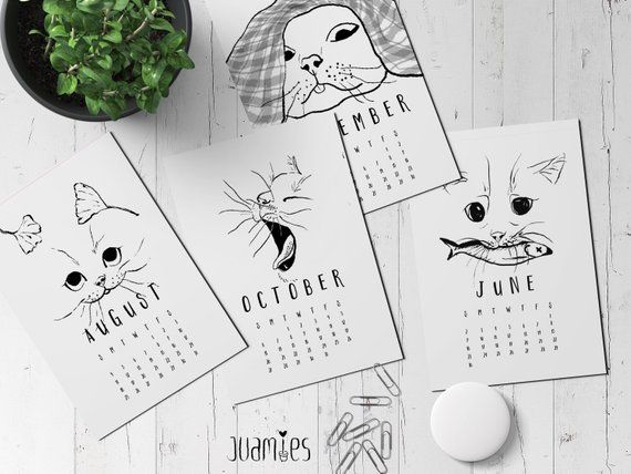 Printable Cute Funny Cat Calendar 2019 Desk Calendar Printable 12