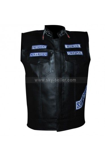 Sons Of Anarchy Jax Teller Motorcycle Vest With Patches S7 Celebrity Jackets Sons Of Anarchy Vest Biker Vest