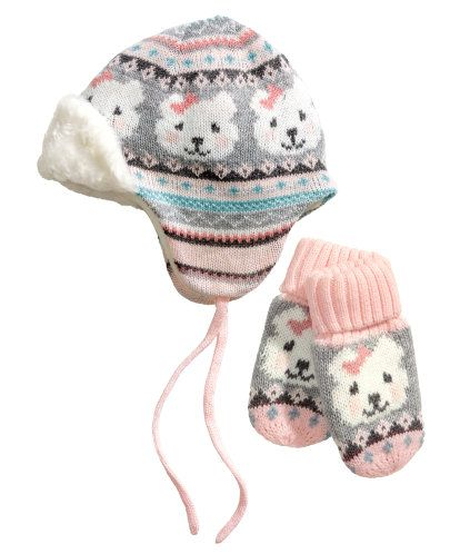 e7f073f9eb5 Baby Girl Pink Hat and Mittens ( Little Bear ) H M