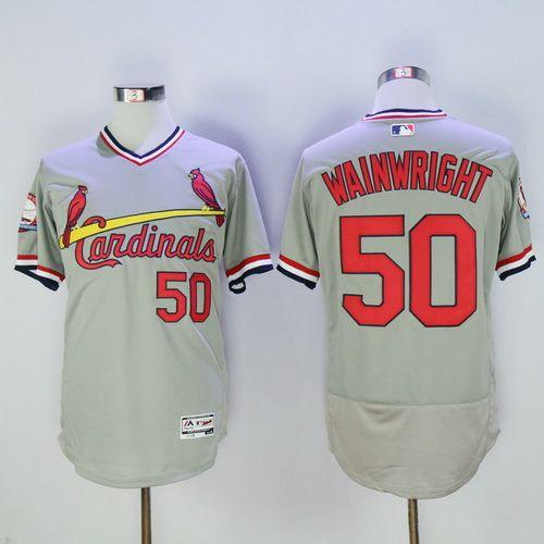 Men's St. Louis Cardinals #50 Adam Wainwright CreamGray Pullover 2016 Flexbase Majestic Baseball Jersey