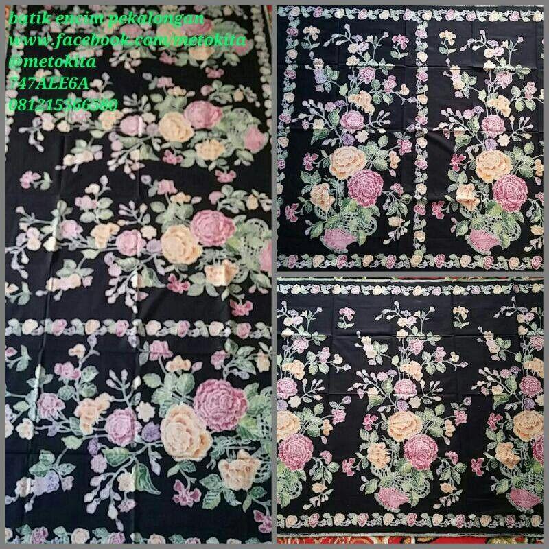 batik encim pekalongan motif buketan mawar bahan kain katun