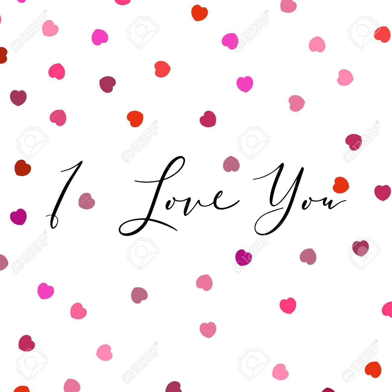 I Love You lettering with random, chaotic, scattered hearts on white background. Illustration , #sponsored, #random, #chaotic, #Love, #lettering, #scattered