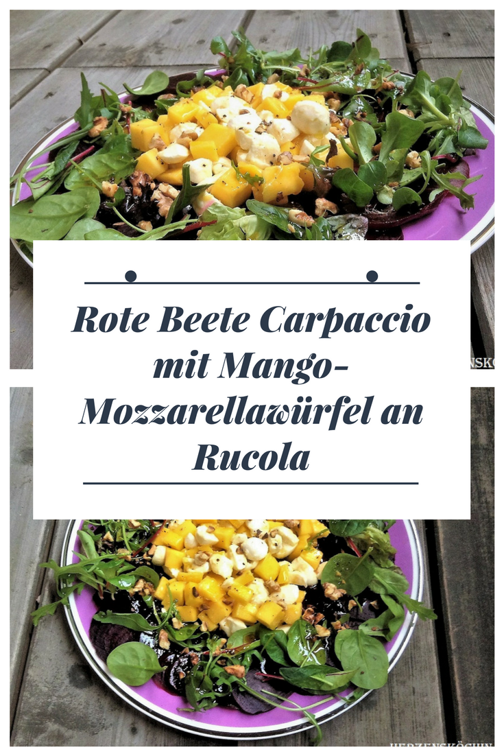 Beetroot carpaccio with mango and mozzarella cubes on rocket With these characteristics  Beetroot carpaccio with mango and mozzarella cubes on rocket With these character...