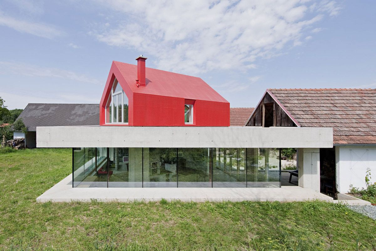 Charming Concrete U0026 Glass Construction, Old Farm House Renovation And Expansion In  Burgenland, Austria