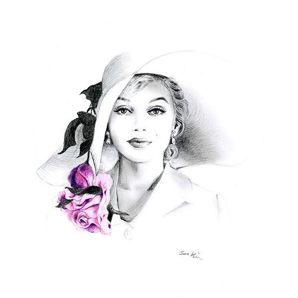 Pencil Drawing - Black and White - Marilyn Monroe with Hat and Rose (€20) via Polyvore featuring home, home decor, wall art, art, sketch, photo wall art, black white wall art, black and white home accessories, paper wall art et rose wall art