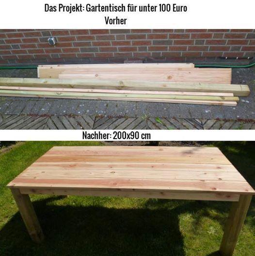 Vorher Und Nachherbild Vom Holz Und Gartentisch Gartentisch