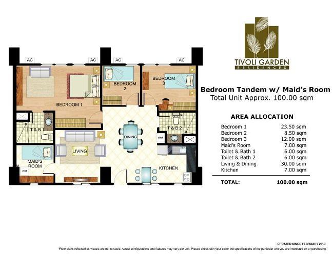 Tivoli Garden Residences 3 Bedroom Tandem Unit 100 Sqm Jpg 647 500 Makati City Maids Room Tivoli Gardens