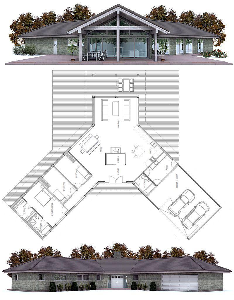 House design modern house ch134 100 dom pinterest for Open plan planimetrie