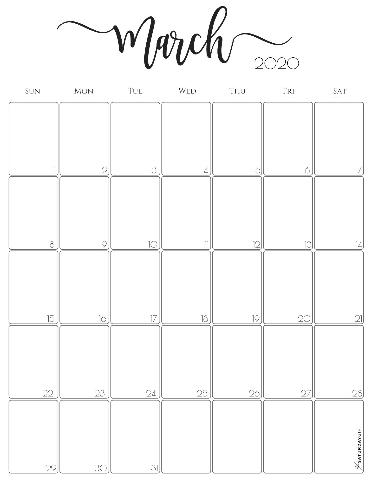 Vertical 2020 Monthly Calendar Stylish Free Printables In