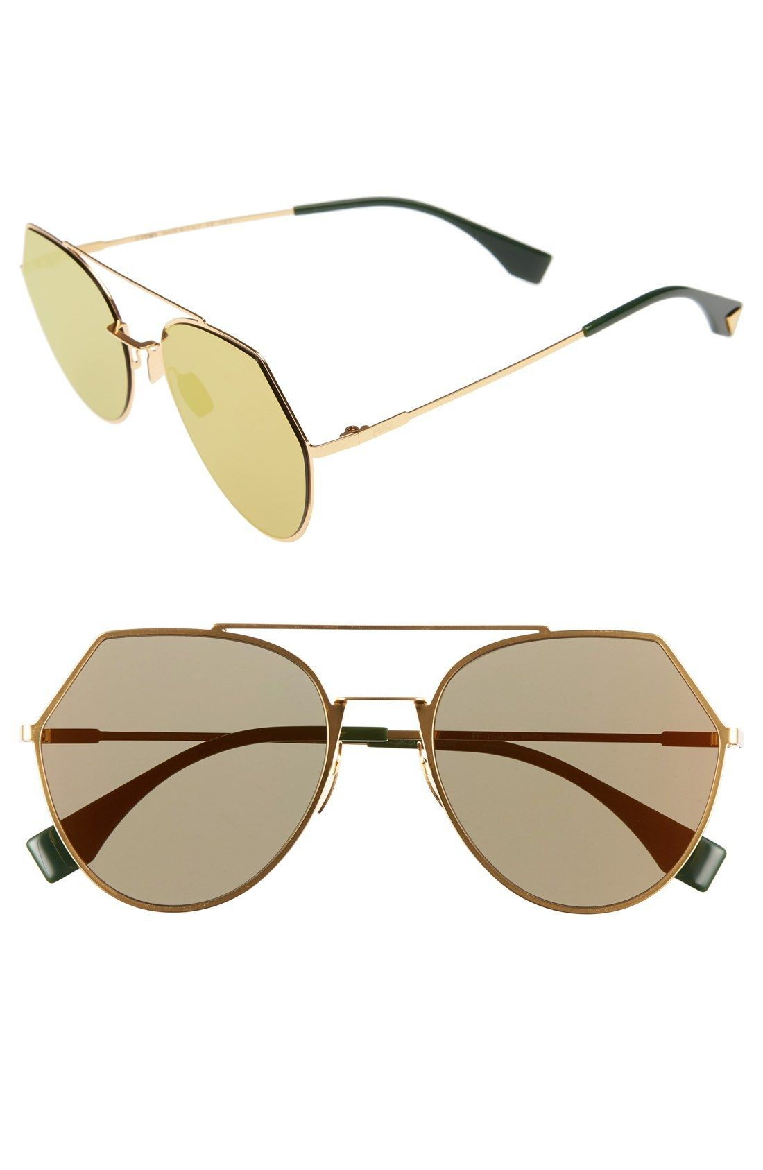 532538f2509 FENDI Ff 0194 3Yg Light Gold Eyeline Aviator Sunglasses