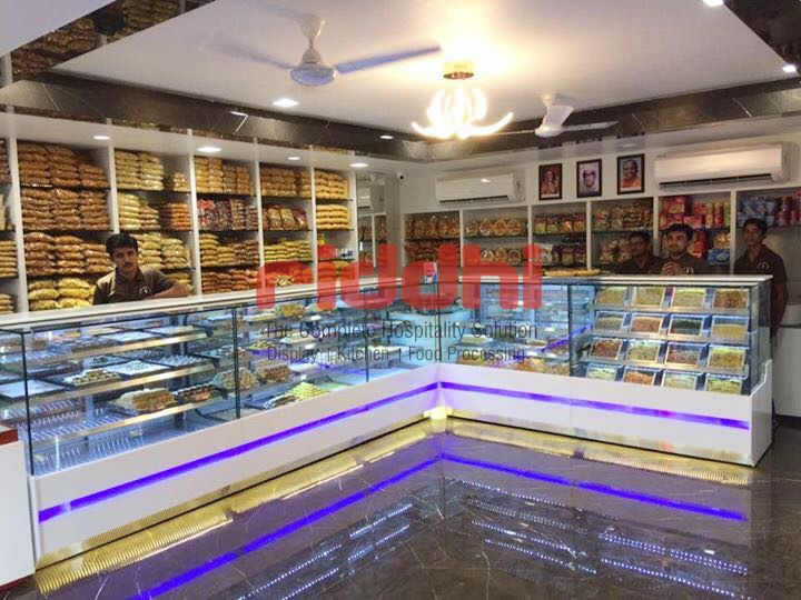 Another Sweet Display Counter Installation With Blue Lighthing Shree Ram Sweet Adipur Sweetdisplayc Cake Display Counter Shop Interior Design Shop Interior