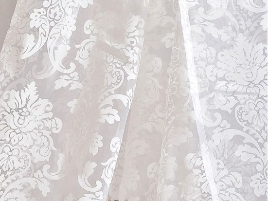 120 Inch Damask White Rod Pocket Sheer Curtains Sale $29.99 (Was ...