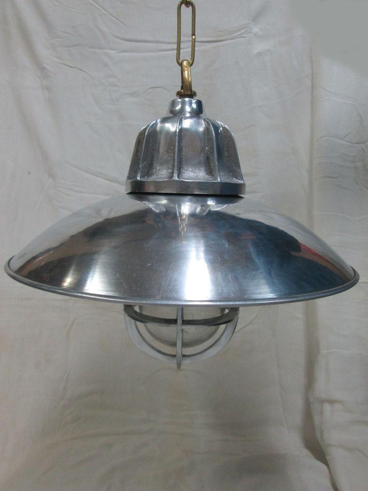 Vintage New Marine Nautical Aluminium Shade With Brass Chain Ship Light Material Aluminium Shade Brass Chain Size Height Light Brass Chain Pendant Light