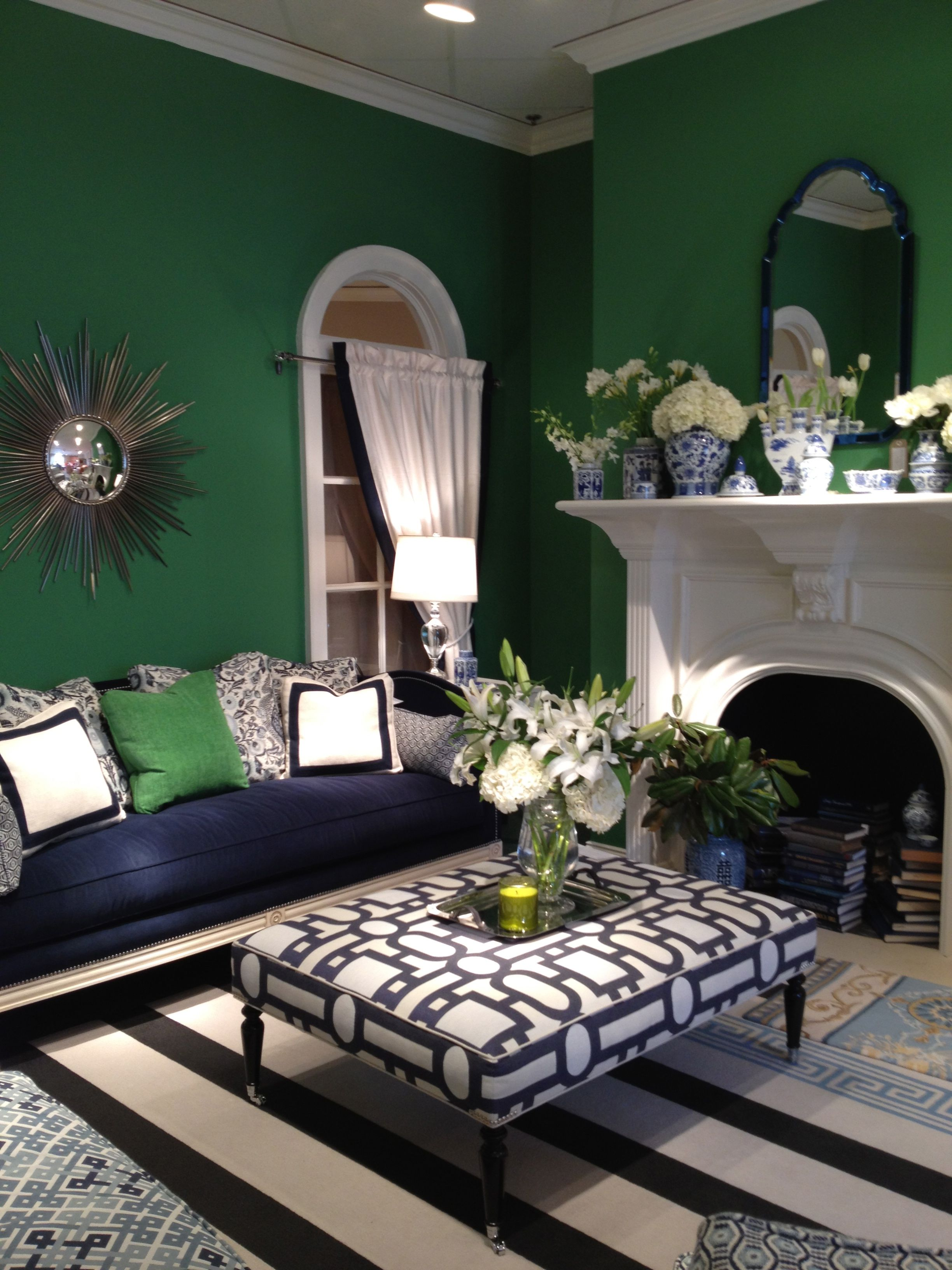 Green Living Room Designs: Navy Green White By Wesley Hall...amazing Color