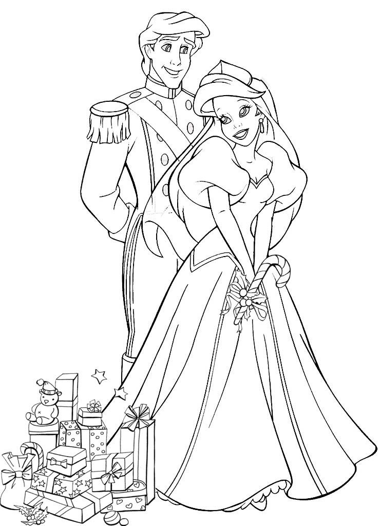 Ariel The Little Mermaid And Philip At Christmas Coloring