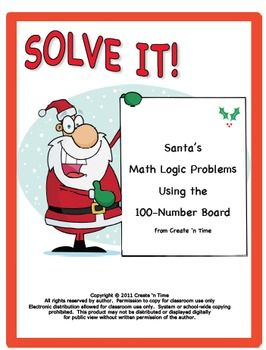 Santa Math Logic Problems Using the 100-number Board