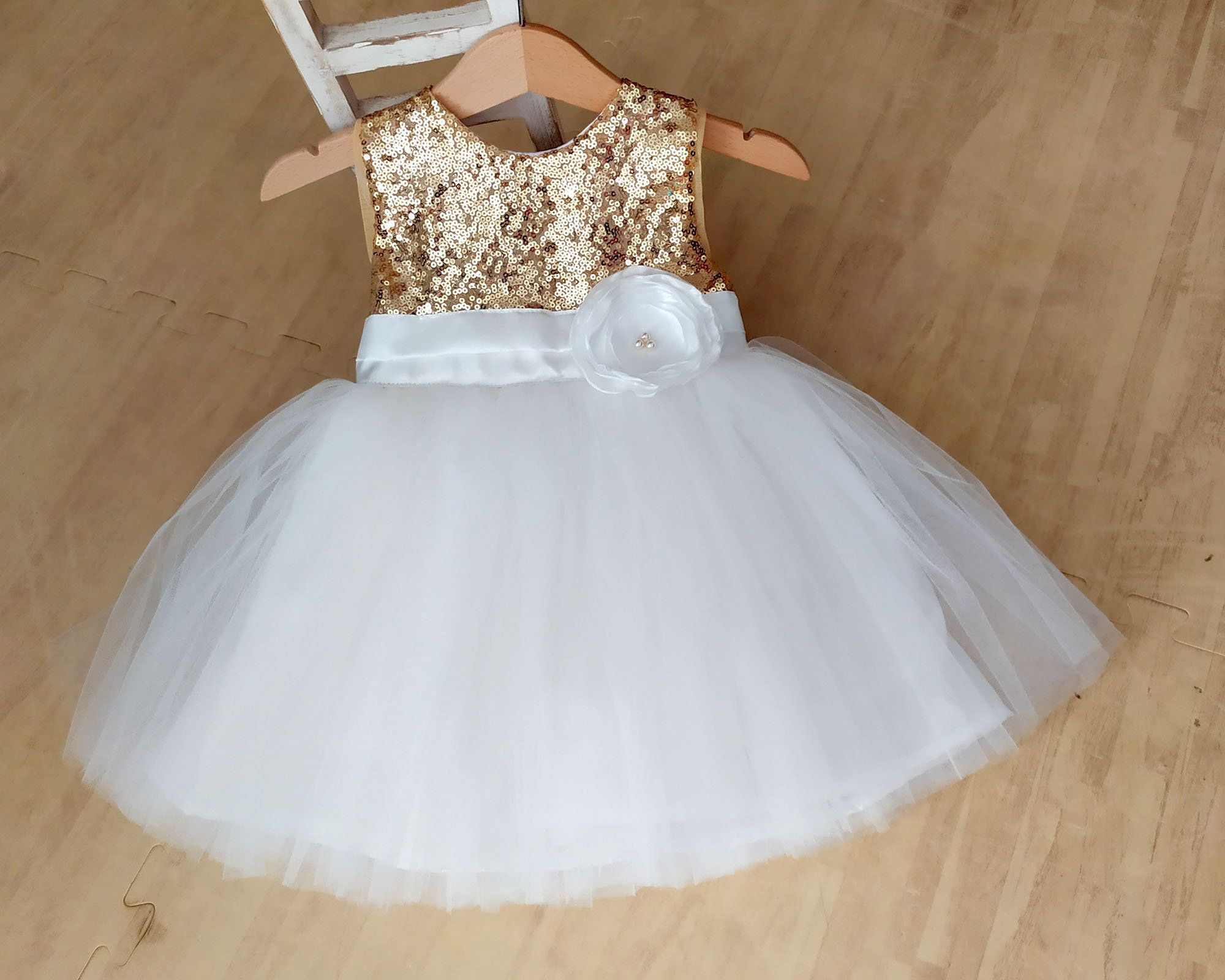 Girls Cream Sequin Party Wedding Christening Occasional Dress