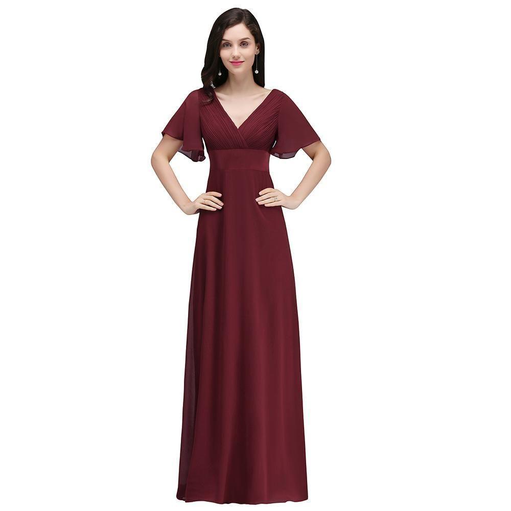 Chiffon Dress V-Neck Evening Dress Formal Party Maxi Dress ...