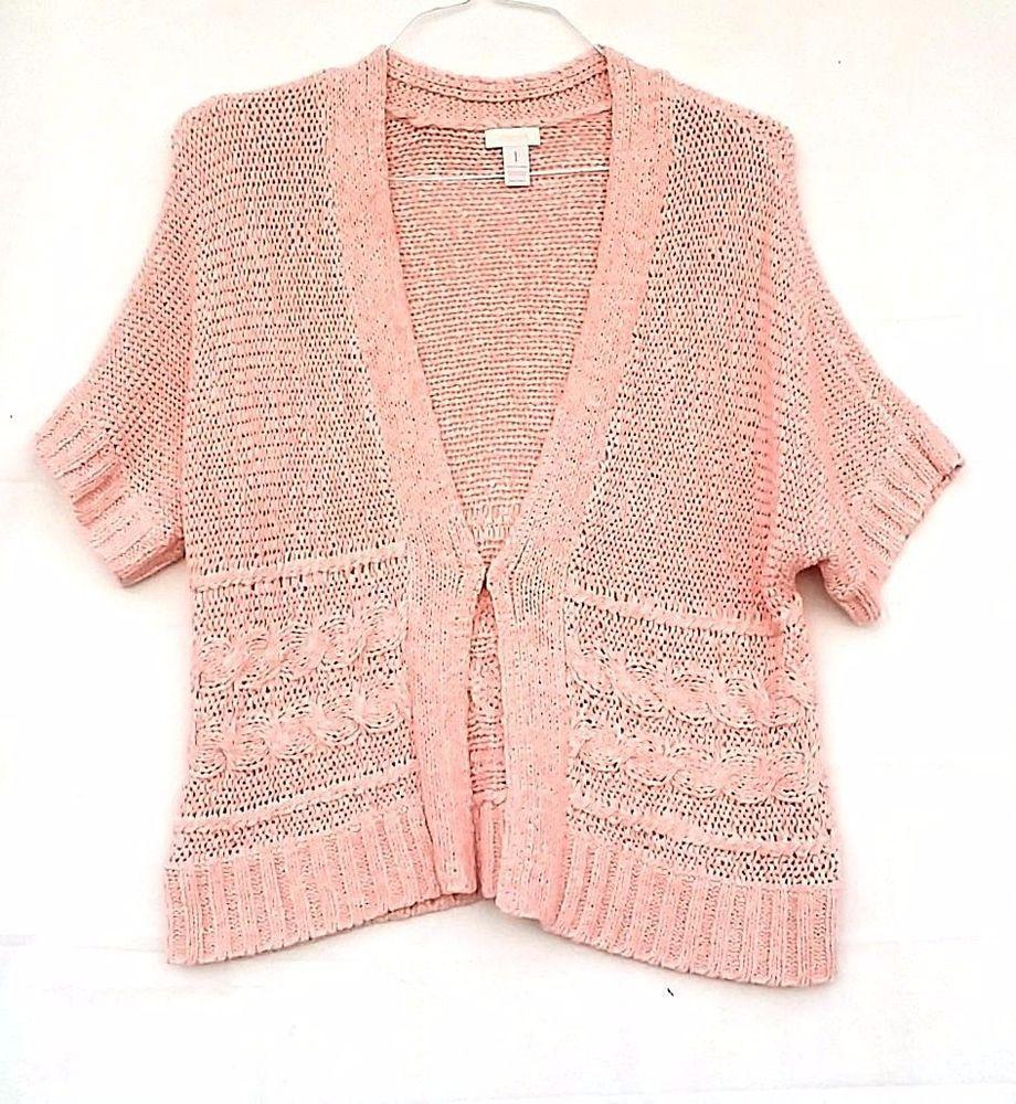 Chico's Size 1 Pink Peach Ribbon Women's Short Sleeve Cardigan ...