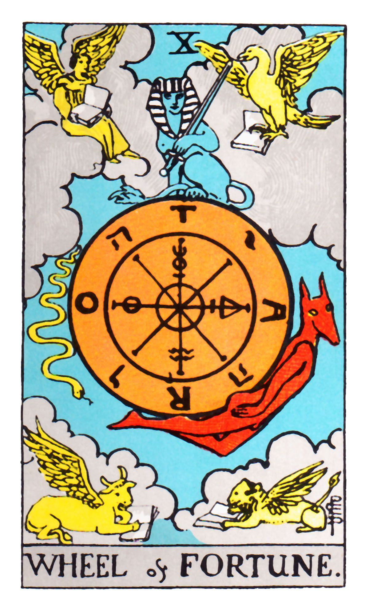 Tarot Symbols And The O Jays On Pinterest: X. The Wheel Of Fortune. The Original Rider Waite Tarot