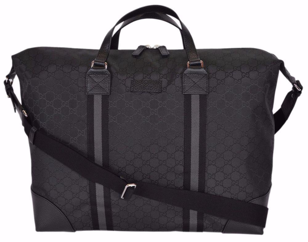 20150ac52b1 NEW Gucci 449180 Black Nylon GG Guccissima XL Travel Duffle Luggage Bag   Gucci